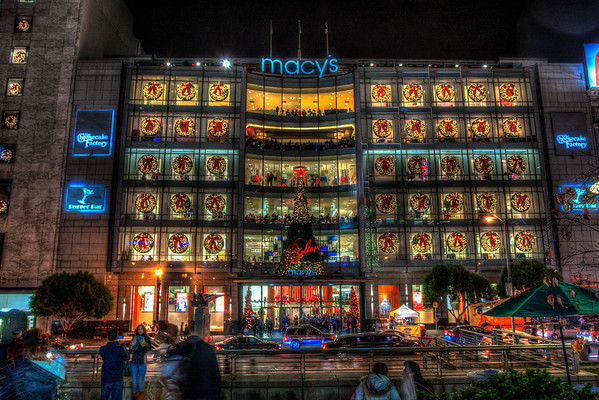 San Francisco Macy's store in Union Square on New Years Eve.