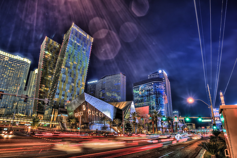 Las Vegas City Center long exposure shot's at night 2.