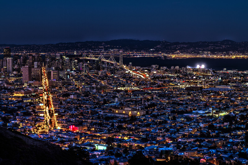 San Francisco city shot at night from Twin Peaks.