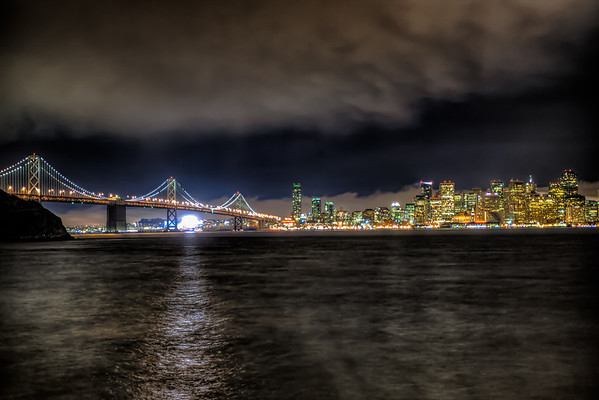 San Francisco Bay Bridge shot at night.