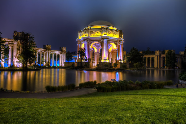 San Francisco Palace of Fine Arts late night wide angle shot.