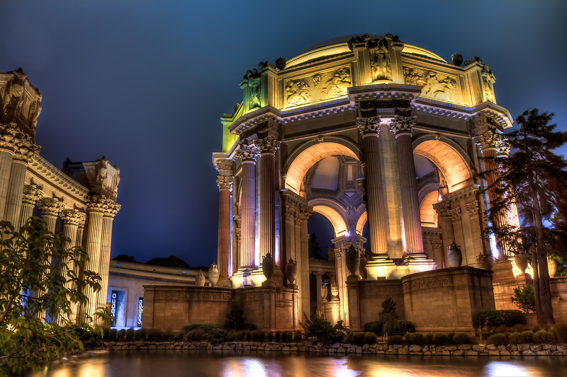 San Francisco Palace of Fine Arts late at night close-up shot.
